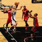 Manu Ginobili once again struggled with his shot, but got to the rim several times and dished out six assists.