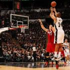 Gary Neal hit this three-pointer ahead of the halftime buzzer as the Spurs set an NBA Finals record with 16 threes in their win over Miami.