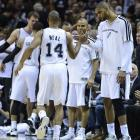 Gary Neal is congratulated by teammates on a night in which the Spurs won by the third biggest margin in Finals history.