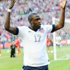 Striker Jozy Altidore celebrates his opening goal for the United States, his third in as many games.