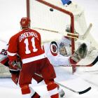 Exactly two years after the Stars' second 3 OT cup game, the Red Wings defeated the Hurricanes 3-2 on an Igor Larionov goal. Three years after losing a three-overtime game and the series, goalie Dominik Hasek was on the winning end for Detroit. The Red Wings went on to win in five games.