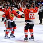 The Blackhawks became the second team to win two 3 OT Finals games 82 years after being the first to win one. Andrew Shaw scored a goal on Tuukka Rank at about midnight local time, capping a 4-3 comeback win for the 'Hawks.