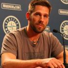 Lee answers questions in a press conference on July 9 after learning he has been traded to the Rangers.