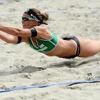 Katrin Holtwick of Germany dives for the ball during the FIVB Grand Slam match on Day 2 in The Hague, Netherlands.