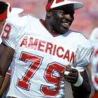 Bruce Smith looks on during the 1990 Pro Bowl in a year he made 19 sacks and 101 tackles.