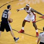 San Antonio's Manu Ginobili (20) was stifled by LeBron James and Miami's defense all evening, finishing with just nine points on 2-5 shooting.