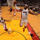 The Heat's LeBron James skies for an uncontested dunk.