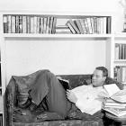 Gehrig reclines at home in the midst of a salary dispute.