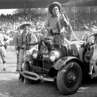 Ruth and Gehrig try their hand at rodeo, fresh off a World Series sweep of the Cardinals, in Oct. 1928.