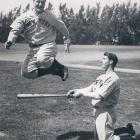 Lou Gehrig and Joe DiMaggio run through drills during Spring Training.