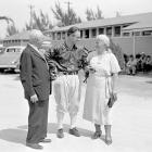 Gehrig stands outside Higgins Field in St. Petersburg, FL with his mother and father in March 1938.