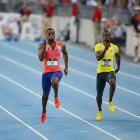 Tyson Gay races to victory over Justin Gatlin, Charles Silmon and Rakieem Salaam in the men's 100-meter final.