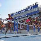 Brianna Rollins leads the pack to win the 100-meter hurdle final. She turned in the fastest time in a 100 hurdles race in 21 years.