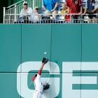 Denard Span of the Washington Nationals leaps for and catches a fly ball in the second inning of a 3-2 loss to the Arizona Diamondbacks.