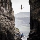 Jonathan Paredes of Mexico dives from a 27-meter platform during the Red Bull Cliff Diving World Series at Islet Villa Franca do Campo in Azores, Portugal.