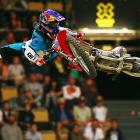 Josh Sheehan of Australia performs a trick during the Moto X speed and style competition on Day 2 of the X-Games at Olympic Parc in Munich, Germany.