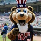 Minnesota Twins mascot TC Bear gets into the spirit of the July 4 holiday with an Uncle Sam look. He is considerably smilier than Uncle Sam, though.