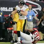 Before Ben Roethlisberger was knocked unconscious in the third quarter by a helmet-to-helmet hit from Atlanta's Chauncey Davis, Heath Miller had a touchdown catch to his credit on his 24th birthday. Neither he nor the Steelers were in a celebratory mood afterwards as they lost 41-38 in overtime on a day when Michael Vick threw four TD passes and Morten Andersen booted the game winner.