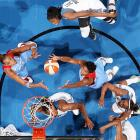 Atlanta Dream's Angel McCoughtry (35) and Erika de Souza (14) corral a rebound against the Minnesota Lynx in a WNBA game on July 9 in Minneapolis.