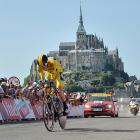 Great Britain's Christopher Froome powers through the individual time trial of Stage 11 of the Tour de France on July 10. He placed second overall in the time trial behind Germany's Tony Martin.