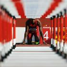 Marlon Humphrey of the United States stares down the track prior to the Boys 110m Hurdles semifinal at the IAAF World Youth Championships on July 12 in Donetsk, Ukraine.