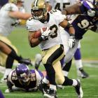 On a day when Drew Brees threw five touchdown passes in a 42-20 victory over Minnesota, Pierre Thomas celebrated his birthday by scoring the Saints final TD -- a one-yard run to cap a time-consuming 19-play, 87-yard drive.