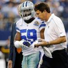 Ernie Sims spent his 28th birthday dealing with concussion-like symptons for the second consecutive game. The linebacker had been helped off the field the previous week (pictured) against Pittsburgh, and came off the field early against New Orleans, too, after making a pair of tackles. The Cowboys eventually lost that contest 24-21 in overtime, but Sims was back for the season ender against Washington and has been re-signed by Dallas for the 2013 season. In Sims' first Birthday Game, back in 2007, he made five tackles in Detroit's 25-20 victory over Kansas City.