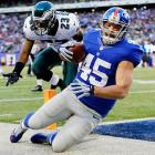 """The Giants fullback known affectionately as """"Hank the Tank,"""" """"Hynoceros,"""" """"Polish Hammer"""" and other monikers, scored the first touchdown of his career on his only Birthday Game, a 42-7 New York win over Philadelphia on the day he turned 24. Hynoski made the one-yard reception against Dominique Rodgers-Cromartie, giving Eli Manning a single-game career-high five touchdown passes."""