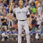 """In his 13th and final All-Star Game, baseball's all-time saves leader, Mariano Rivera, took his cue from Metallica's """"Enter Sandman"""" and jogged on to a conspicuously empty field in the 8th inning. His American League teammates had delayed taking the field so the 43-year-old Rivera, who is retiring at year's end, could enjoy a prolonged and deserved standing ovation from 45,186 fans and nearly six-dozen of his playing peers at Citi Field. Although he didn't close the game, Rivera did pitch a perfect 8th inning and took home MVP honors after the AL's 3-0 win."""