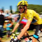 Chris Froome of Great Britain prepares to start stage 20 of the Tour de France.