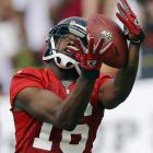Atlanta Falcons wide receiver Marcus Jackson catches a pass during NFL training camp in Flowery Branch, Ga.