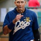 A-Rod loses some sunflower seeds during a rehab game with the Charleston RiverDogs in early July.