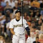 Alex Rodriguez flips his bat after missing a pitch during a rehab game with Trenton on Saturday, Aug. 3.