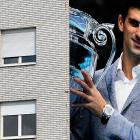 Serbian tennis player Novak Djokovic is seen on a building in Belgrade ahead of his Wimbledon final against Andy Murray.