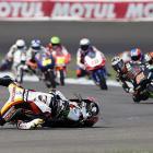 Jack Miller of Austrlia wrecks during the Indianapolis Grand Prix Moto3 motorcycle race on Aug. 18.