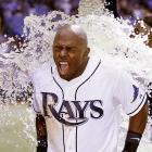 Tampa Bay Rays' Jason Bourgeois gets doused with ice following his walkoff hit off Seattle Mariners relief pitcher Danny Farquhar on Aug. 14. The Rays defeated the Mariners 5-4.