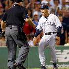 Yankees manger Joe Girardi argues with home plate umpire Brian O'Nora after Alex Rodriguez was hit by a pitch in the second inning of game against Boston.