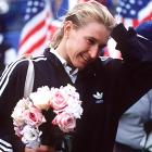 Steffi Graf during the awards ceremony at the 1995 U.S. Open.