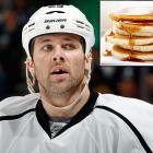 """In January 2012, Dustin Penner of the Kings famously hurt his back when he leaned over to eat pancakes. """"I woke up fine, sat down to eat and it locked right up,"""" he told <italics>LA Kings Insider</italics>. """"It never happened to me before. I couldn't stand up. I was probably at the third stage of evolution. So my wife helped me get dressed, and then I drove to the rink here, to hope they could do some magic and get it opened up. Kinger [trainer Chris Kingsley] just looked at me and said, 'Go home.' So I got some treatment and went home."""""""