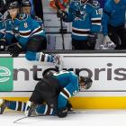 During a December 2011 game against Edmonton, Martin Havlat of the Sharks hurt himself climbing over the boards on a line change and had to leave the arena with the aid of a walking stick.