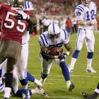 """Peyton Manning led the Colts back from a 35-14 deficit with four minutes to play on Monday Night Football. """"What a game,"""" he said afterwards, """"what a win."""" Ricky Williams ran for a one-yard touchdown with 35 seconds left to tie the game, and Mike Vanderjagt kicked the game-winning field goal in overtime. The Colts overcame 21-point deficits twice in 1995."""