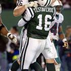 """New York trailed by 23 points heading into the fourth quarter, but quarterback Vinny Testaverde caught fire. He threw for 235 yards and four touchdowns in the last period. The tying touchdown pass went to offensive lineman Jumbo Elliot (the only catch of his career). A decade after the """"Monday Night Miracle,"""" Testaverde said, """"I get goose bumps just thinking about (the game)."""""""