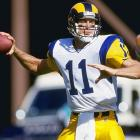 Jim Everett threw three touchdowns in the second half as the Rams, then based in Los Angeles, beat the Buccaneers 31-27. The Rams defense held Tampa Bay scoreless in the second half. Sean Gilbert had two sacks and Gerald Robinson added another.