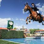 You never know what will come out of the sky. This looks like Nicola Philippaerts and Vadetta VH during the individual jumping final at Spruce Meadows in Calgary.