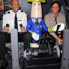 """It's always the wrong week when Roger Murdock and Ted Stryker have to rely on Otto Pilot to make a safe landing at the <italics>""""Airplane!""""</italics> 30th Anniversary Reunion press announcement at Air Hollywood Studio in Pacoima, Cal."""