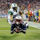 New England Patriots wide receiver Kenbrell Thompkins had this touchdown catch reversed when he couldn't maintain control of the ball when he hit the ground.