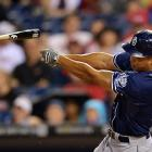 San Diego Padres rightfielder Will Venable loses his grip on the bat in a game against the Philadelphia Phillies. Venable was productive when he held on though, homering off Roy Halladay in the game.