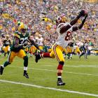 Washington Redskins wide receiver Pierre Garcon extends to make a grab against the Green Bay Packers.