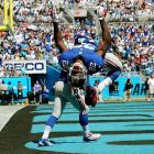 New York Giants running back David Wilson does a backflip after a touchdown, only to learn a few seconds later that a flag negated the score. The Giants never did reach the end zone Sunday, losing to the Carolina Panthers 38-0.