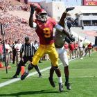 USC wide receiver Marqise Lee fends off Utah State cornerback Nevin Lawson in the end zone. Lee was unable to hold onto the pass, but the Trojans won 17-14 to move to 3-1 on the year.